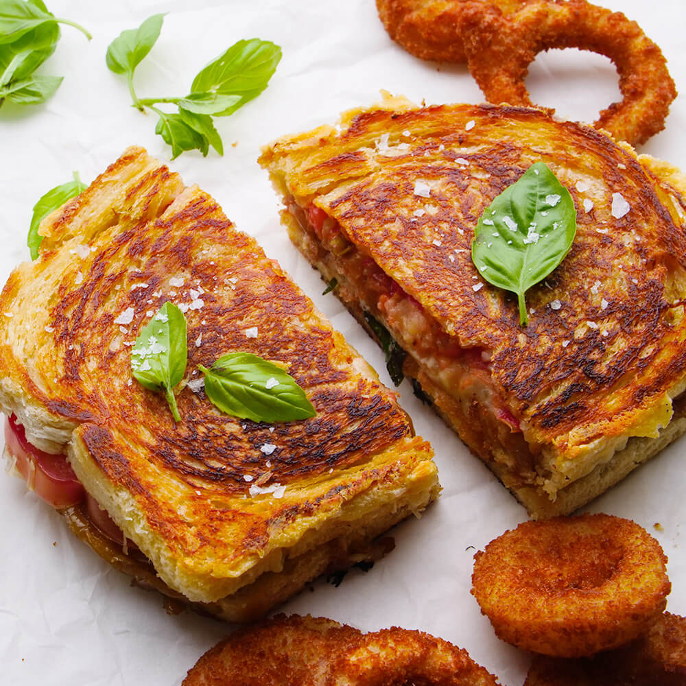 Fancy Grilled Cheese with Onion Rings