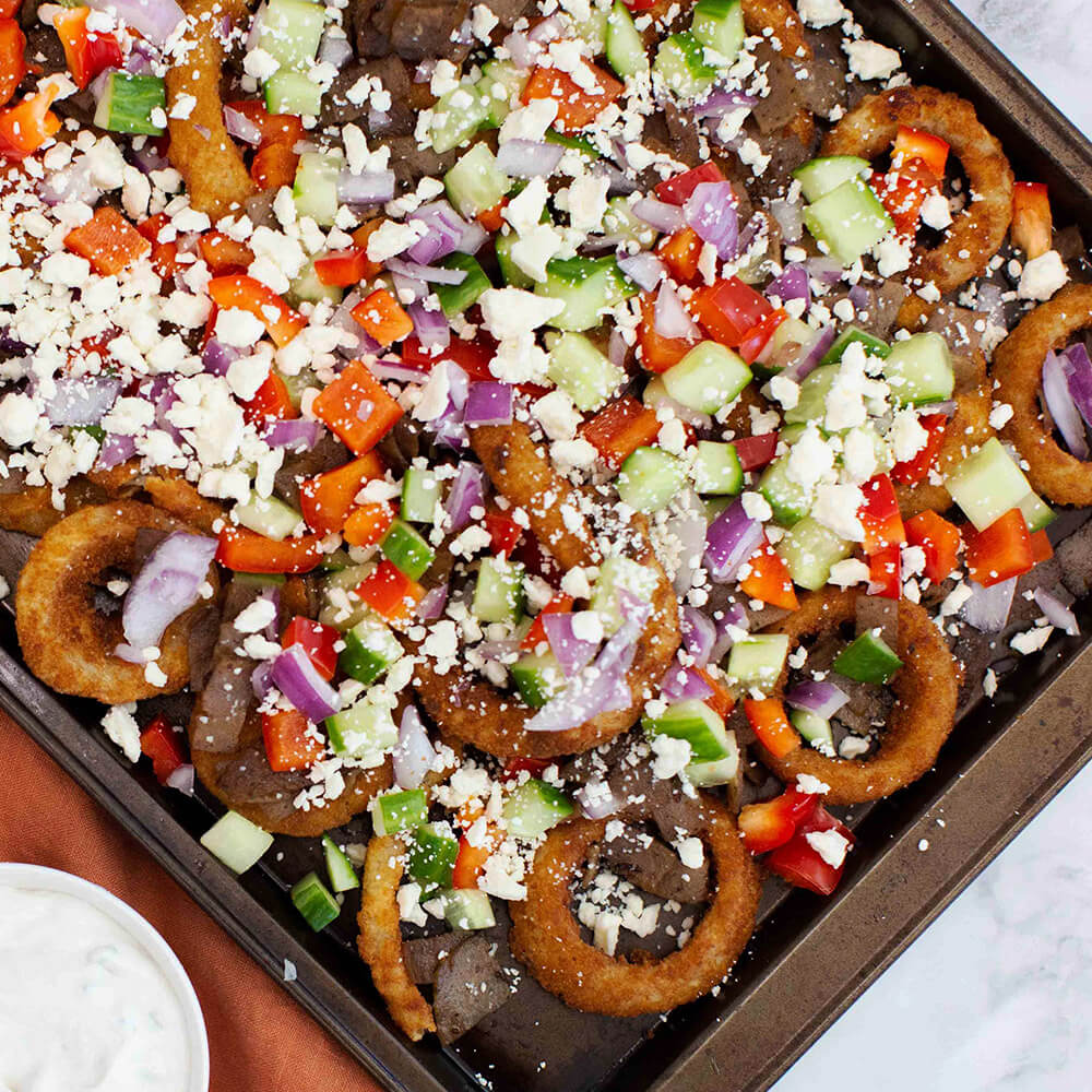 Sheet Pan Loaded Greek Onion Rings